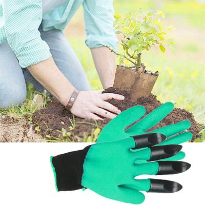 1 Pair Garden ABS Gloves Plastic Garden Genie Rubber Gloves With Claws Quick Easy to Dig and Plant For Digging Planting