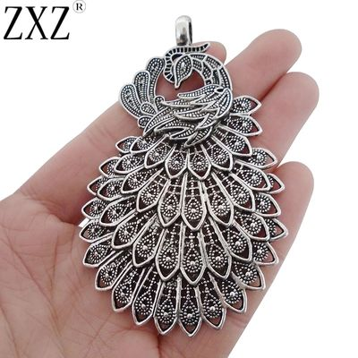 ZXZ 2pcs Large Beautiful Peacock Charms Pendants for Necklace Jewelry Making Findings 86x54mm