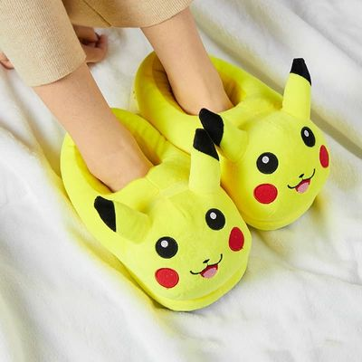 Plush Home Animal Slippers Warm Cotton Shoes Anime Pikachu Stich Cosplay Shoes Women /Men Lovers Kids Slippers Family Slippers