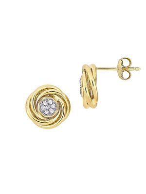 Sonatina 14K Yellow Gold & White Topaz Stud Earrings