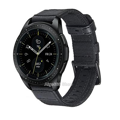 Woven Nylon Sport Band Strap With Stainless Steel Metal Buckle For Samsung Galaxy Watch 42mm 46mm FCJMALL