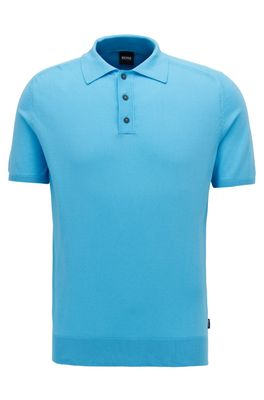 HUGO BOSS - Short Sleeved Sweater In Silk With Polo Collar