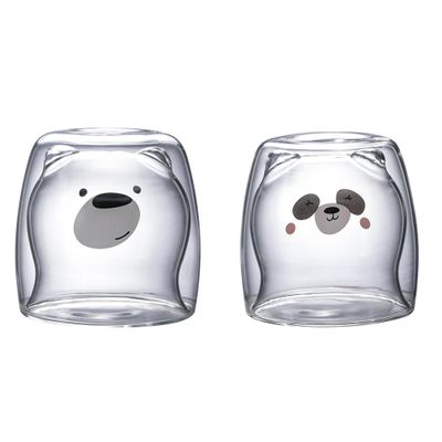 3D 2-tier Lovely Panda Bear Innovative Beer Glasses Heat-resistant Double Wall Coffee Cup Morning Milk Glass Juice Glass