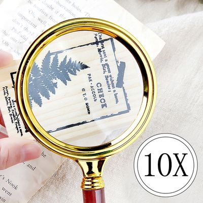 Urijk 1PCS Magnifier Portable Handheld 10X Magnifying Glass 60mm 70mm 80mm 90mm Retro Handle Magnifier Eye Loupe Glass