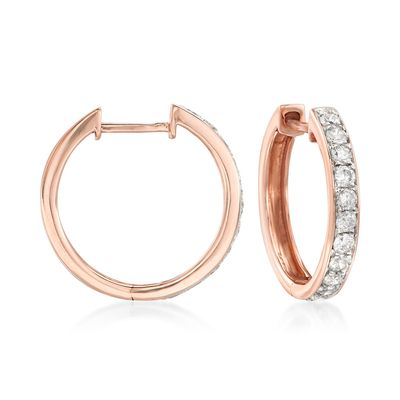 Ross-Simons Diamond Hoop Earrings in 14kt Rose Gold