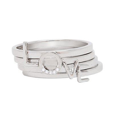 Adornia Love Ring Stack .925 Sterling Silver