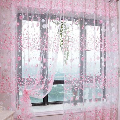 Wear Rods Voile Window Curtain For Children Room Living Room Curtain Floral Pattern Sheer Voile Panel Drapes Curtains