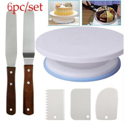 6PCs/Set Plastic Cake Turntable Rotating Cake Plastic Dough Knife Decorating 10 Inch Cream Cakes Stand Cake Rotary Table Hot Sal