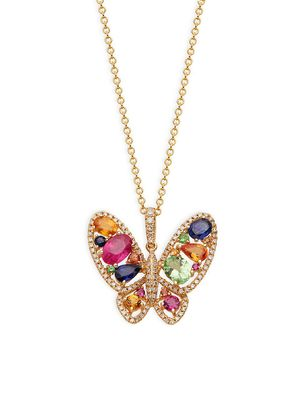 Effy 14K Yellow Gold Multi-Color Sapphire & Diamond Butterfly Pendant Necklace