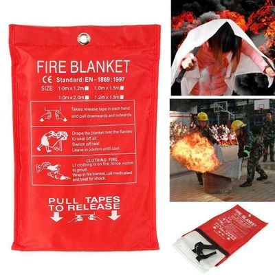 1M x 1M Fire Emergency Blanket Fire Blanket  Survival Fiberglass Shelter Safety Cover for Home Kitchen Camping