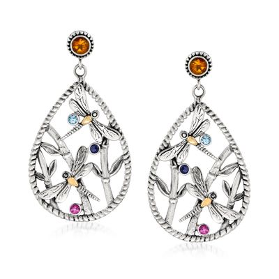Ross-Simons Multi-Gemstone Dragonfly Drop Earrings in Sterling Silver With 18kt Gold Over Sterling