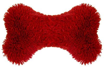 Bessie and Barnie Deluxe Extra Plush Faux Fur Lipstick Pet Dog Luxury Bone Toy Pillow
