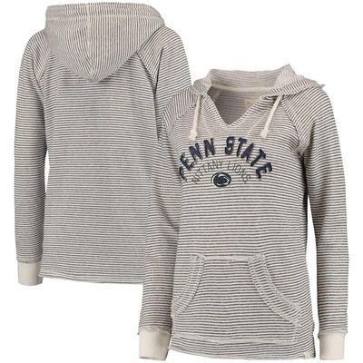 Penn State Nittany Lions Blue 84 Women's Striped French Terry V-Neck Hoodie - Cream