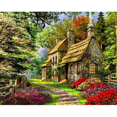 Home in the Mountains Hand Made Paint High Quality Canvas Beautiful Painting By Numbers Surprise Gift Great Accomplishment