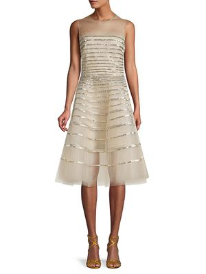 Oscar de la Renta Striped Illusion Dress