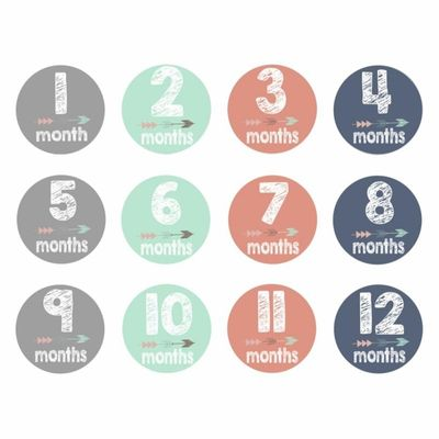 Baby 12PCS/Lot Monthly Stickers Novelty 1-12M Milestone Stickers Memo DIY Scrapbook Album Anti-dirty Growth Prop Hand Foot Souve