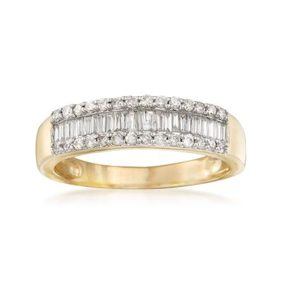 Ross-Simons Baguette and Round Diamond Ring in 14kt Yellow Gold