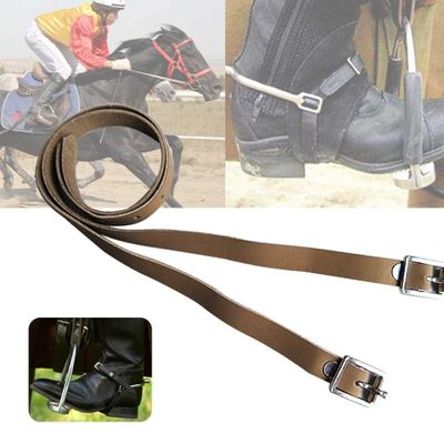 2 Pcs Horse Riding Equipment PU Leather Training Outdoor Long Sports Accessories Protective Solid With Buckle Durable Spur Strap
