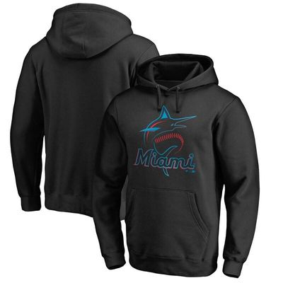 Miami Marlins Team Color Primary Logo Pullover Hoodie - Black