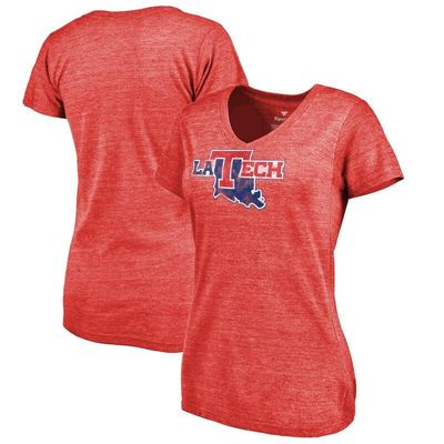 Louisiana Tech Bulldogs Women's Classic Wordmark Tri-Blend V-Neck T-Shirt - Red