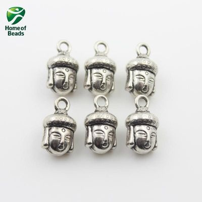 2020 New Fashion Wholesale Antique Silver Color Buddha Beads Accessories For Making Jewelry 8x14mm  (50 pieces/lot)ZA1045