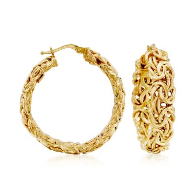 Ross-Simons 14kt Yellow Gold Byzantine Hoop Earrings