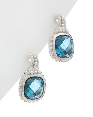 Judith Ripka Cushion Silver 6.40 ct. tw. London Blue Spinel Earrings