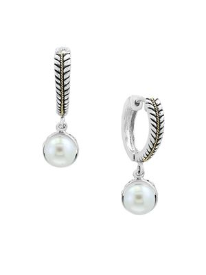 Effy White Pearls and 18K Yellow Gold Drop Earrings