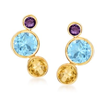 Ross-Simons Multi-Gemstone Earrings in 14kt Yellow Gold
