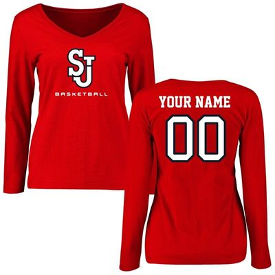 St. Johns Red Storm Women's Personalized Basketball Long Sleeve T-Shirt - Red