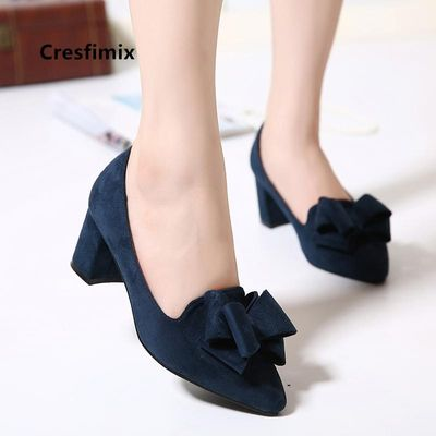 Cresfimix ladies cute sweet navy blue pointed toe bow tie high heel shoes women cool office high heel pumps party shoes a5750