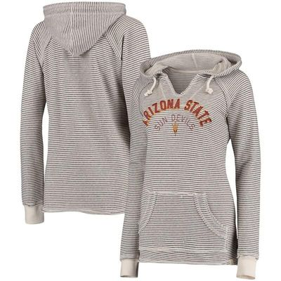 Arizona State Sun Devils Blue 84 Women's Striped French Terry V-Neck Hoodie - Cream