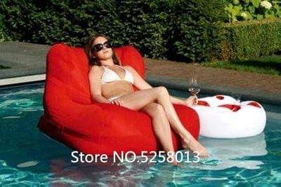 Red pool side water float, extra large bean bag chair