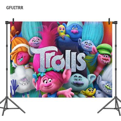 GFUITRR Trolls Photography Backdrop Baby Shower Kids Birthday Party Photo Background Vinyl Photo Booth Props