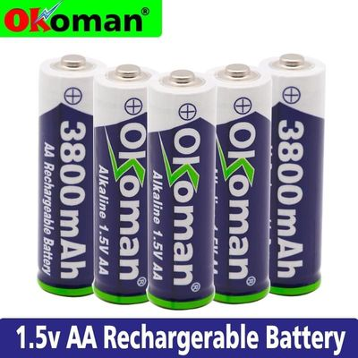 100% New 1.5V Rechargeable AA Battery 3800mah Alkaline Batteries For Clock Toys Flashlight Remote Control Camera battery