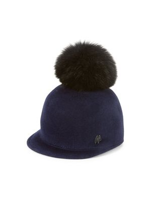 Raffaello Bettini Rabbit Fur Pom-Pom Velour Rider Hat