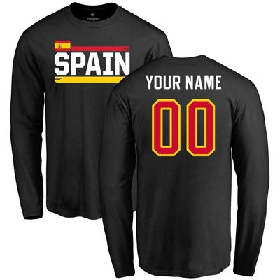 Spain Personalized Name & Number Long Sleeve T-Shirt - Black