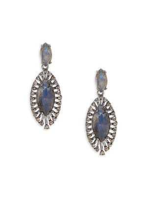 Banji Jewelry Rhodium-Plated Sterling Silver, Labradorite & Diamond Marquise Drop Earrings