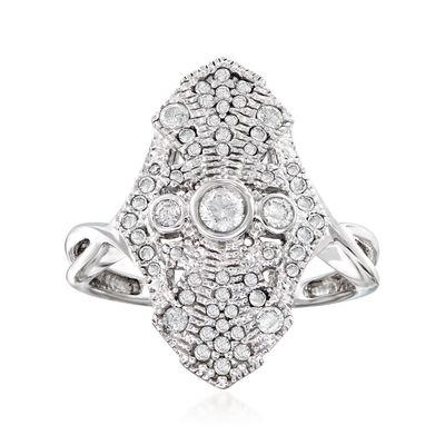Ross-Simons Diamond Vintage-Style Ring in Sterling Silver
