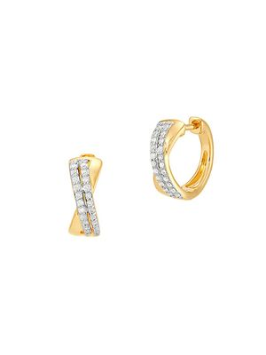 Saks Fifth Avenue 14K Yellow Gold & Diamond Huggie Earrings