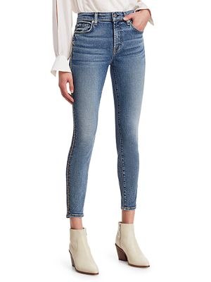 7 For All Mankind Metallic Racing Stripe Ankle Skinny Jeans