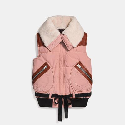 COACH Puffer Vest With Shearling