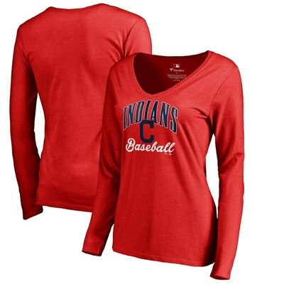 Cleveland Indians Women's Victory Script Long Sleeve T-Shirt - Red
