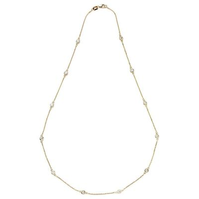Suzy Levian 1.30 ct TDW 14k Yellow Gold Bezel Diamonds by the Yard Station Necklace