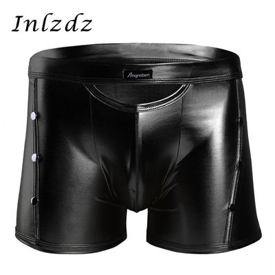 Latex Underwear Mens Sissy Leather Panties with Rivets Detailing Lingerie Sex Costume Exotic Gay Panties Leather Boxer Shorts