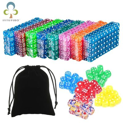 25Pcs Portable Table Games Dice 14MM Acrylic Round Corner Board Game Dice Party Gambling Game Cubes Digital Dices with Bag GYH