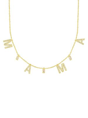 Chloe & Madison 18K Goldplated, Sterling Silver & Crystal Mama Pendant Necklace