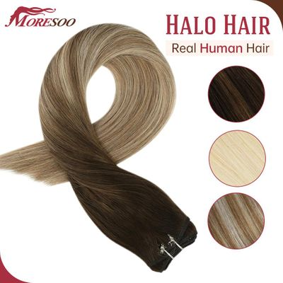 Moresoo Fish Line Hairpiece Human Hair Extensions Halo Hair Invisible Hidden Secret Wire Machine Remy Brazilian Hair for Women