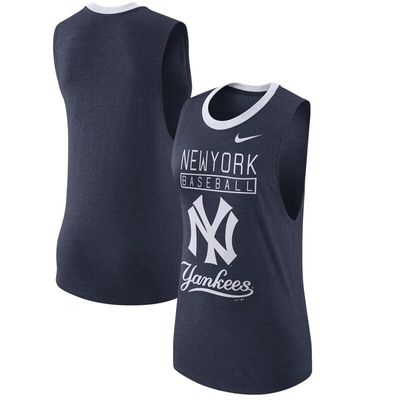 New York Yankees Nike Women's Cooperstown Collection 1.7 Tri-Blend Tank Top - Heathered Navy