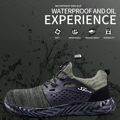 Unisex Soft Lightweight Breathable Night Reflective Work Shoe Boots with Steel Toe Cap Outdoor Sports Anti-slip Safety Sneakers